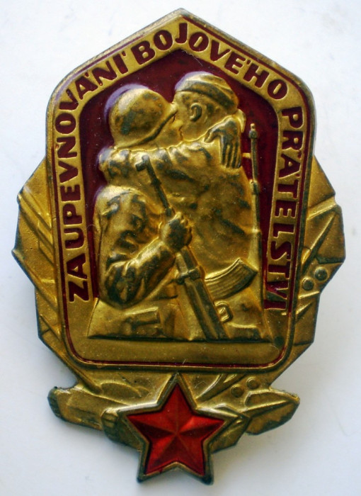 I.501 INSIGNA MILITARA PRIETENIA CEHOSLOVACO SOVIETICA h45mm