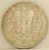 2.5 escudos, 1947 Portugalia XF+, de argint, tiraj mic 2.610.000 piese