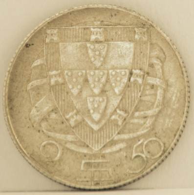 2.5 escudos, 1947 Portugalia XF+, de argint, tiraj mic 2.610.000 piese foto