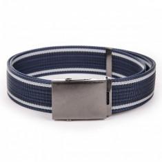 Curea pentru barbati in doua culori, lungime ajustabila, catarama din metal, bleumarin - A028