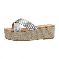 Papuci trendy, argintii, cu platforma, 36 - 41, Argintiu