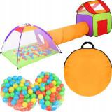 Cumpara ieftin Loc de joaca copii, 2 corturi, tunel de legatura, 200 bile colorate, husa ,375 cm