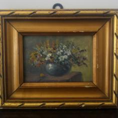 Vaza cu flori// ulei pe carton
