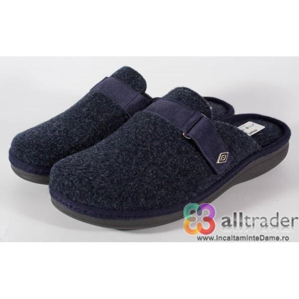 Papuci de casa bleumarini din lana pentru barbati/barbatesti (cod 191010)