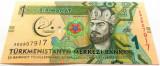 Bancnota EXOTICA 1 MANAT - TURKMENISTAN, anul 2017  *cod 138 B = UNC!