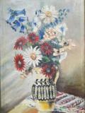 Tablou mare, ulei/pânză, Ulcică cu flori, semnat si datat, 40 x 58