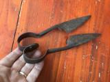 scule / unelte vechi - Foarfeca pentru taiat lana la oi / model taranesc !