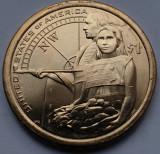 Monedă 1 Dollar 2014 USA, Unc, Sacagawea Native, Lewis and Clark Expedition, America de Nord