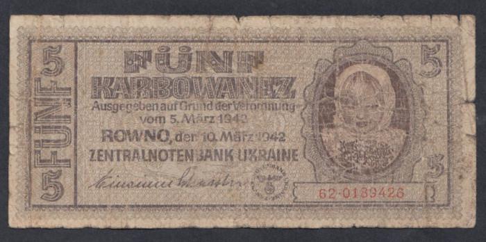 A7385 Ukraine Ucraina 5 karbowanez karbonvantsiv 1942