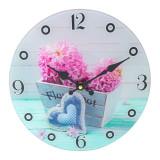 Ceas decorativ pentru perete, 30 cm, model floral