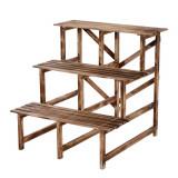 Outsunny Scară Ghiveci pentru Grădină cu 3 Etajere din lemn de Brad, 80x80x80cm