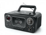 Sistem audio portabil MUSE M-182 RDC, Stereo, LED, CD-Player, Player Casete audio si Recorder, Radio, Microfon, AUX-in, Negru