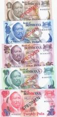 Set Complet Botswana Specimen 1 2 5 10 20 pula - UNC + PLIC ORIGINAL foto