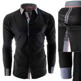 Cumpara ieftin Camasa pentru barbati, neagra, slim fit, elastica, casual, cu guler - gubbio, L