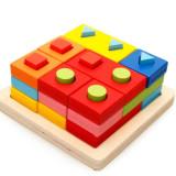 Jucarie cub cu 9 coloane pentru stivuire forme geometrice montessori