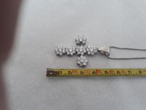 MEDALION argint CRUCE CRUCIFIX masiv batut in ZIRCONII superb pe Lant argint