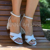 Sandale dama albe, din piele naturala toc 6cm - NAA56ALB