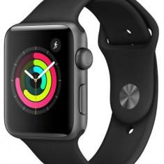 Smartwatch Apple Watch 3 MTF02MP, GPS, AMOLED Bratara Silicon 38mm, Carcasa Aluminiu, Rezistent la apa si praf, WiFi, Bluetooth (Negru)