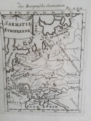 Harta a Sarmatiei Europene, cu reprezentare a Daciei, tiparita in 1719 foto