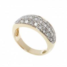 Inel aur galben 14 K cu diamante, circumferinta 56 mm, 14k