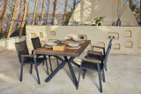 Set masa de gradina / terasa din aluminiu si lemn Sydney Natural / Antracit + 6 scaune de gradina Ottowa Antracit, L150xl90xH77 cm
