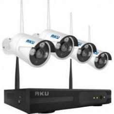 Kit supraveghere wireless AKU 4 camere IP rezolutie CLEAR HD 1 MP infrarosu 25m + NVR 4 canale 720P audio video H264
