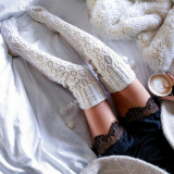 Ciorapi Dama Peste genunchi de Iarna Caldurosi Hand Made Sosete Lungi Ciucurasi, Alb, Mov