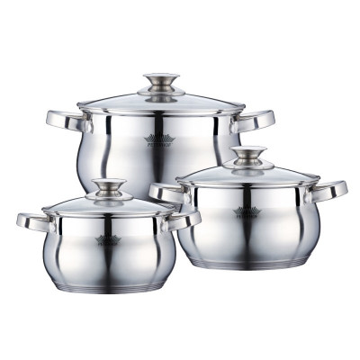 Set 3 cratite inox cu capac Peterhof PH-15775, fund 5 straturi foto