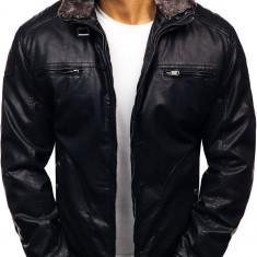 Geacă de piele pentru bărbat neagră Bolf EX839