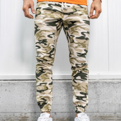 Pantaloni joggers bărbați camuflaj-bej Bolf 0367