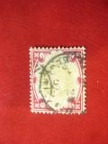 Timbru 1 sh. Eduard VII rosu si verde stampilat 1902 Marea Britanie