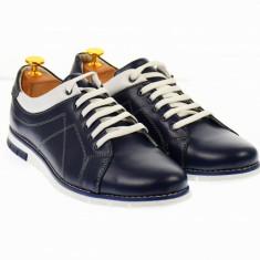 Pantofi barbati sport bleumarin inchis din piele - YANISNOUBLU