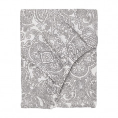 Cearsaf bumbac cu elastic, 90 x 200 cm, Gri/Alb