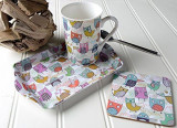 Cana cu tava si suport pahar in cutie cadou - Retro Owl Time For Tea | Creative Tops