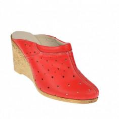 Saboti dama rosii de vara din piele naturala cu perforatii - Cod TEAROSU