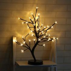 Decoratiune Luminoasa Arbore cu Baterii 48 LED -uri Alb Cald
