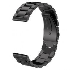 Curea metalica, compatibila Smartwatch 24mm, telescoape QR, Black