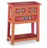 Servantă cu sertare, lemn masiv de mango, roz, pictat manual