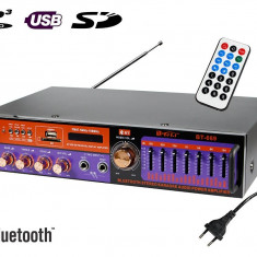 Amplificator digital tip Statie 2x20 W Bluetooth telecomanda intrari USB SD Card microfon