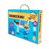 Carte de activitati Invata totul despre inginerie Sassi, 103 piese, 32 pagini, limba engleza, 6 ani+
