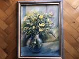 Tablou,pictura in ulei pe lemn,vaza cu flori,semnat, Altul