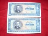 Set 2 Bancnote 1000 lei 20 sept. 1950 N.Balcescu RPR , cal. Necirculat