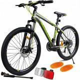 Bicicleta Mountain Bike Sport, roata 26'', cadru 18'', frane disc, 21 viteze Shimano, suspensii, MalTrack