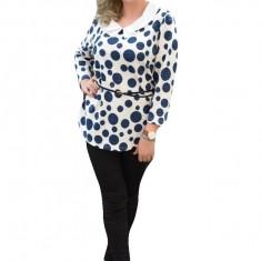 Bluza rafinata cu maneci trei-sferturi, cu buline bleumarin