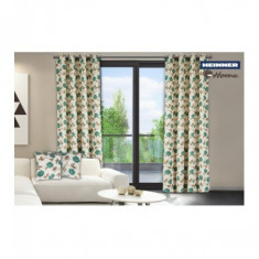 Set de 2 draperii decorative din 100% bumbac model flori