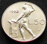 Moneda 50 LIRE - ITALIA, anul 1992 *cod 892 = modelul mic, Europa