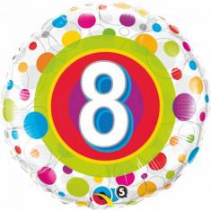 Balon aniversar 8 ani din folie cu buline 43cm