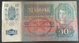 Bancnota ISTORICA 10 COROANE - AUSTRO-UNGARIA (AUSTRIA), anul 1915  *cod 185  A