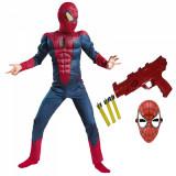 Set costum Spiderman cu muschi si pistol pentru baieti
