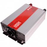 Invertor de tensiune auto Carpoint 12V-230V 1000W 50Hz cu protectii la supra-sarcina , scurt-circuit, Port USB